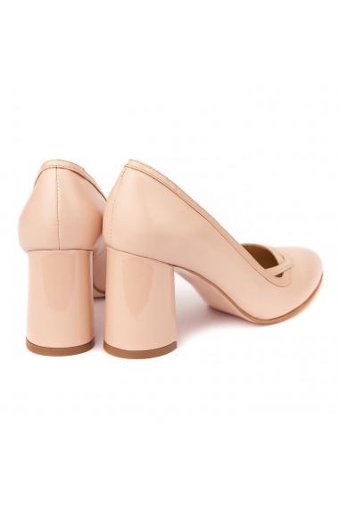 Pantofi cu toc dama eleganti din piele naturala 4249