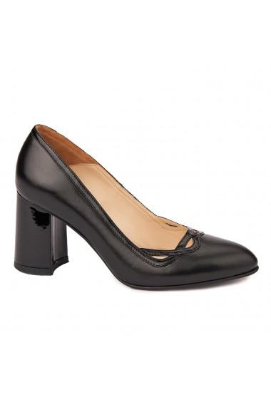 Pantofi cu toc dama eleganti din piele naturala 4254