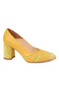 Pantofi cu toc dama eleganti din piele naturala 4255