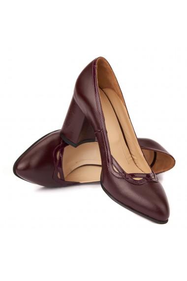 Pantofi cu toc dama eleganti din piele naturala 4257