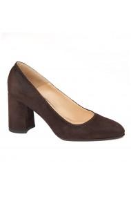 Pantofi cu toc dama eleganti din piele naturala 4258