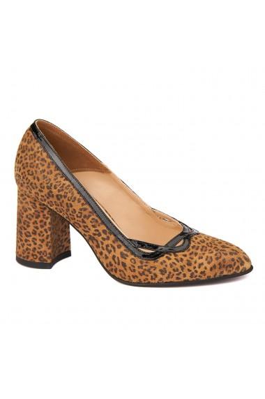 Pantofi cu toc dama eleganti din piele naturala 4260