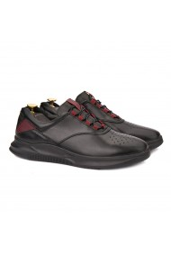 Pantofi barbati casual din piele naturala neagra 1017