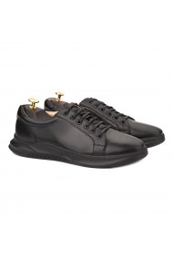 Pantofi barbati casual din piele naturala neagra 1018