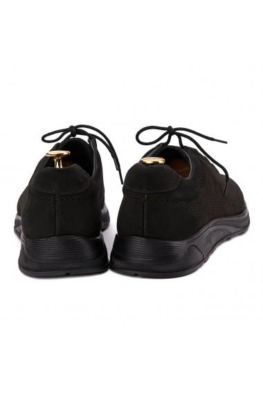 Pantofi Casual Sport din Piele Naturala Neagra 0124