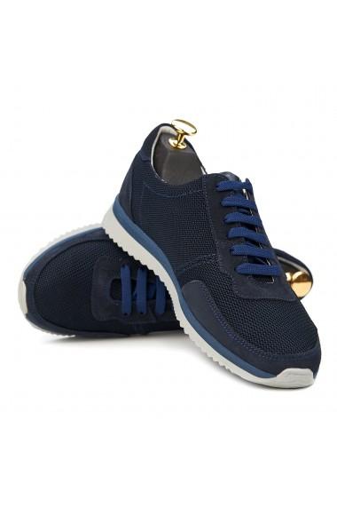 Pantofi sport din piele naturala albastra 0150