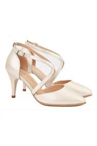 Sandale dama din piele naturala crem 5026
