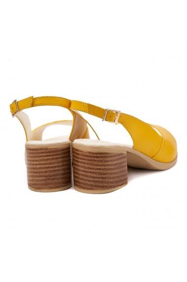 Sandale dama din piele naturala galbena 5154
