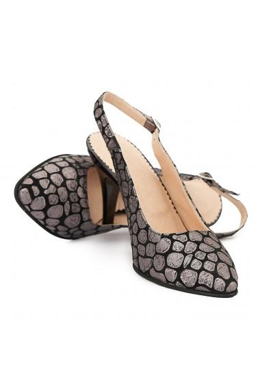 Sandale dama din piele naturala neagra cu model 5015