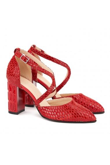 Sandale dama din piele naturala rosie 5025