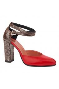 Sandale dama din piele naturala rosie 5248