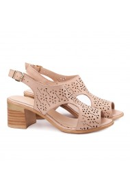 Sandale dama din piele naturala roz 5157