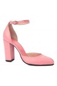 Sandale dama din piele naturala roz flamingo 5238