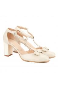 Sandale dama elegante din piele alba cu toc gros 5002