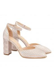 Sandale dama elegante din piele bej cu model 5016