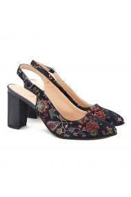 Sandale dama elegante din piele bleumarine model floral 5001