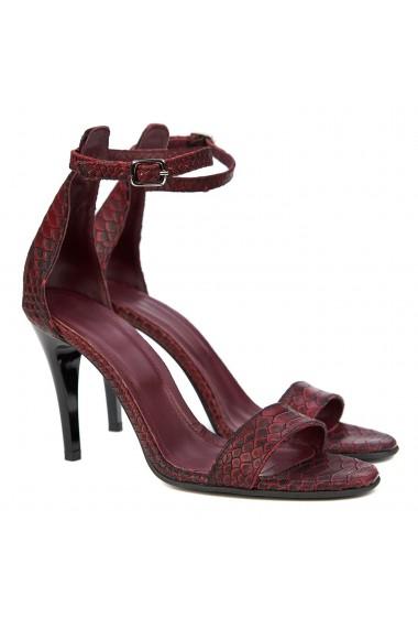 Sandale dama elegante din piele grena 5166
