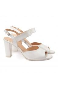 Sandale dama elegante din piele naturala alba 5090