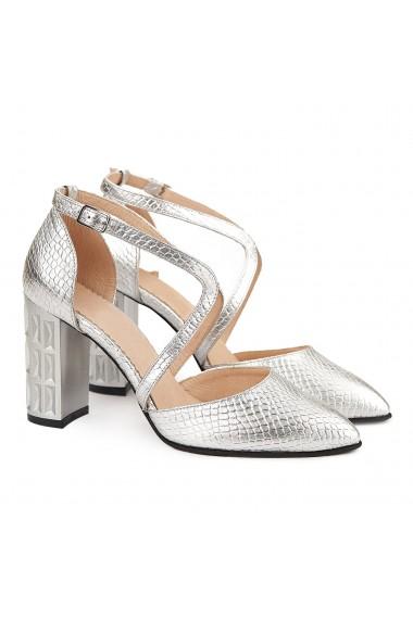 Sandale dama elegante din piele naturala argintie 5013