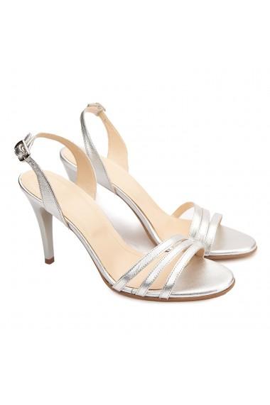 Sandale dama elegante din piele naturala argintie 5183