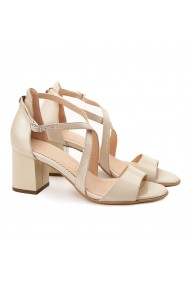 Sandale dama elegante din piele naturala bej 5076
