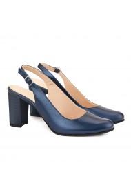 Sandale dama elegante din piele naturala bleumarine 5047