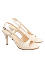 Sandale dama elegante din piele naturala crem 5194