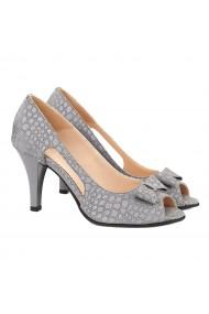 Sandale dama elegante din piele naturala gri 5040