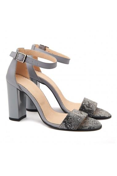 Sandale dama elegante din piele naturala gri 5071