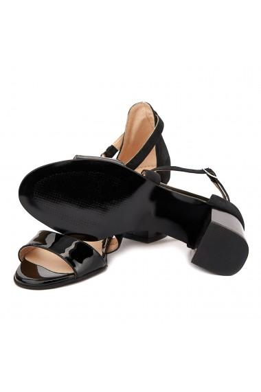 Sandale dama elegante din piele naturala neagra 5093