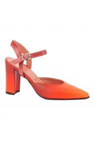 Sandale dama elegante din piele naturala orange 5235