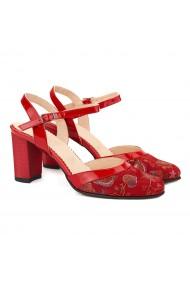 Sandale dama elegante din piele naturala rosie 5046
