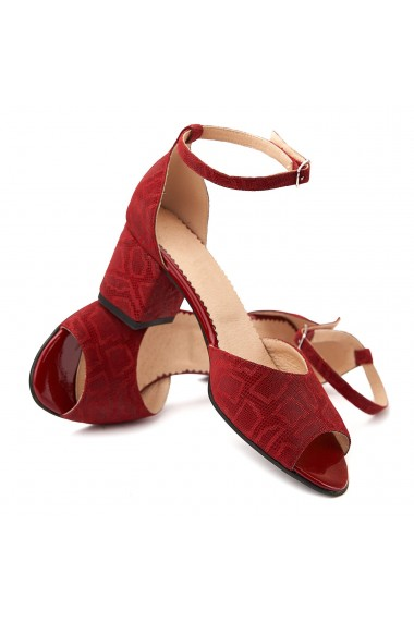 Sandale dama elegante din piele naturala rosie 5069