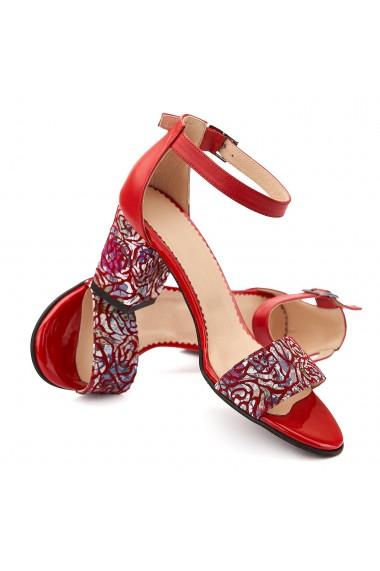 Sandale dama elegante din piele naturala rosie 5073