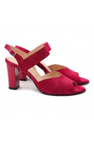 Sandale dama elegante din piele naturala rosie 5092