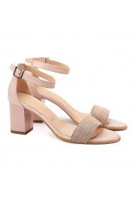 Sandale dama elegante din piele naturala roz 5077