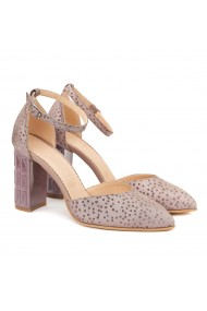 Sandale dama elegante din piele naturala roz pudra 5018