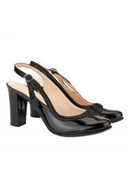 Sandale dama elegante din piele neagra toc gros 5038