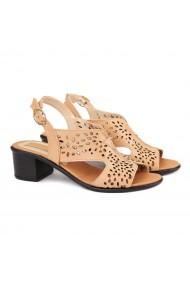 Sandale dama toc gros din piele naturala bej 2184