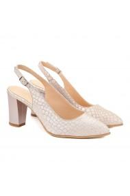 Sandale elegante din piele alba si toc gros 5010