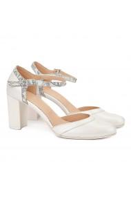 Sandale elegante din piele naturala alba 5054