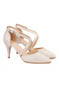 Sandale elegante din piele naturala alba cu model 5009
