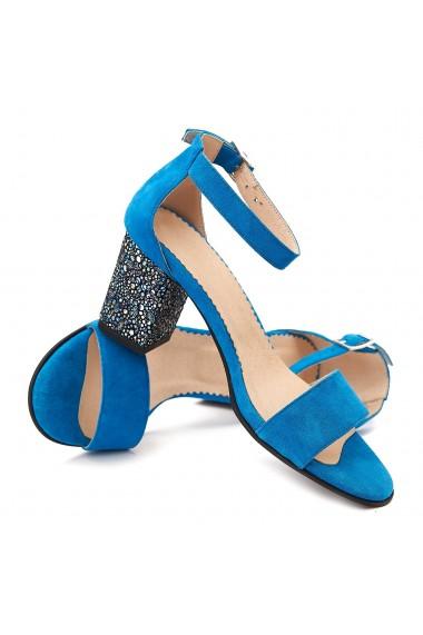 Sandale elegante din piele naturala albastra 5098