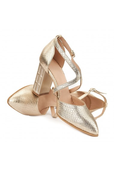 Sandale elegante din piele naturala aurie 5024