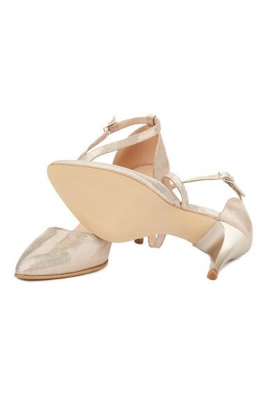Sandale elegante din piele naturala aurie 5027