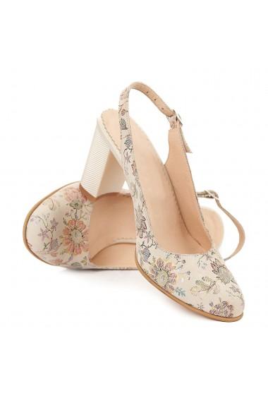 Sandale elegante din piele naturala bej model floral 5063