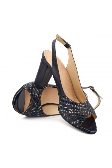 Sandale elegante din piele naturala bleumarin 5112