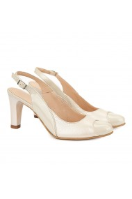 Sandale elegante din piele naturala crem 5022