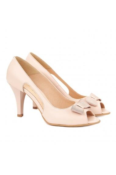 Sandale elegante din piele naturala crem 5043