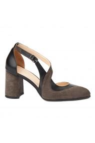 Sandale elegante din piele naturala cu toc gros 5271